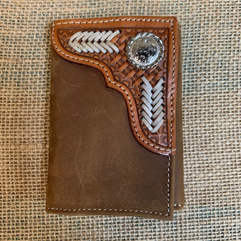 Men's  Brown Leather Tooled Trifold front wallet - Blair's Western Wear Marble Falls, TX