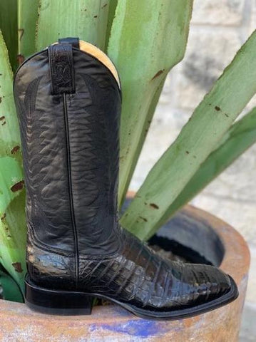 Exotic Caiman Belly Alligator Square Toe Handmade Western Boot - 15551