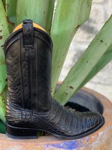 Handmade black exotic caiman alligator cowboy boot round toe - 13277