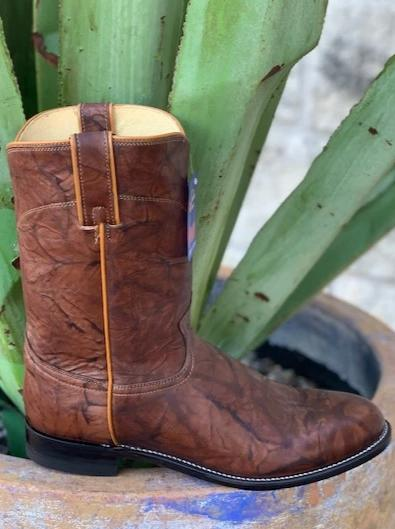 Traditional Cowboy Roper Boots by Justin in Marbled Brown - 3163