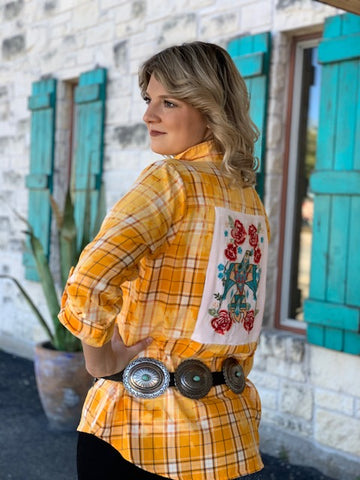 Ladies Western Golden Plaid Shirt w/ Thunder Bird Embroidery - K16475