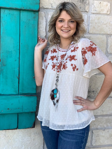 Ladies Western Embroidered Swing Blouse Natural and Rust Top - PST6693