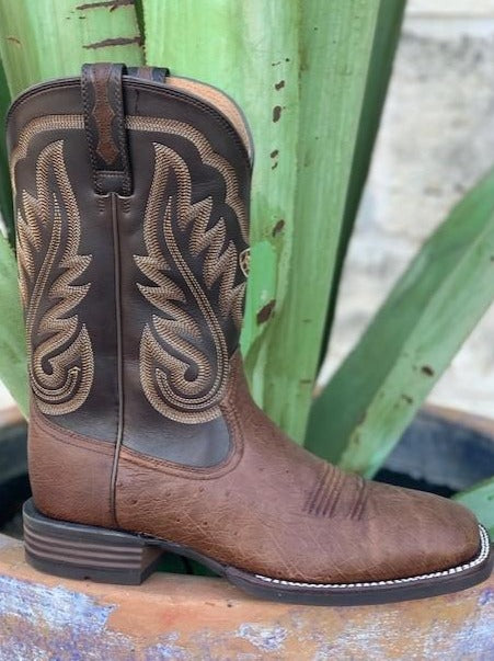 Ariat Men's Cowboy Boot Square Toe Belly Ostrich Chocolate Roper - 10029775