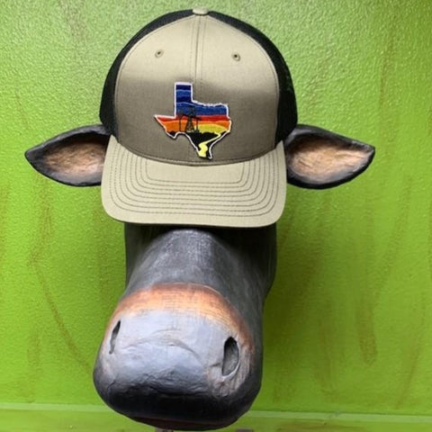 Men's Ball Cap Texas Sunset Oil Rig Olive & Black - TXP1801