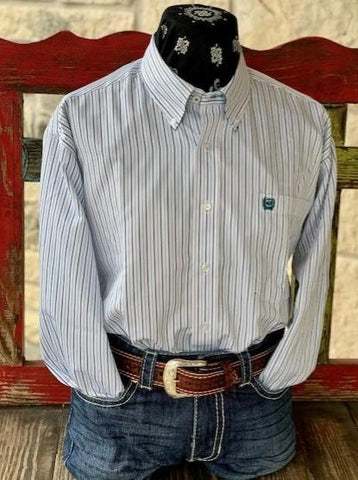Men's Western Cinch Striped Dress Shirt White and Teal - 1104974