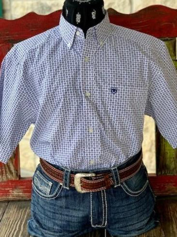 Men's Western Ariat Short Sleeve Dress Shirt White and Blue - 10030583