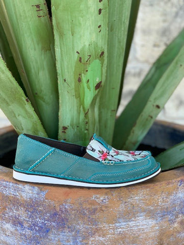 Ariat Women's Turquoise Steer head Slip On Cruiser Shoes - 10024767