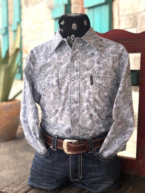 White, Green & Black Shirt - Blair's Western Wear Marble Falls, TX