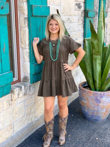 Western Cowgirl solid olive cheap dress