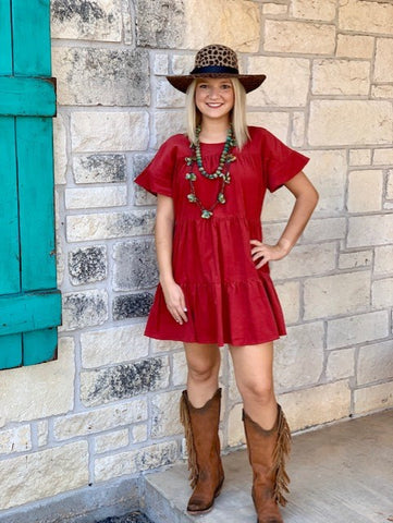 Western Cowgirl solid brick red cheap dress