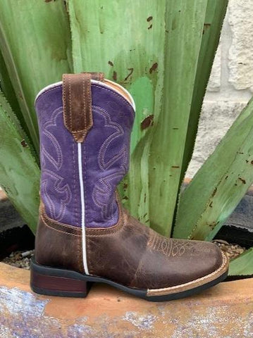 Roper Western Kid's Brown & Purple Square Toe Boot - 9189112493