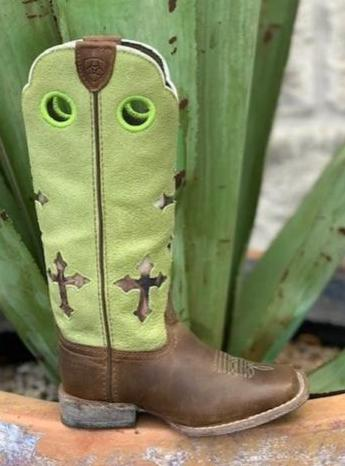 Kids Punchy Western Tall Top Boot Lime & Brown Ariat Boot with Crosses - 10014122 - Blair's Western Wear Marble Falls, TX