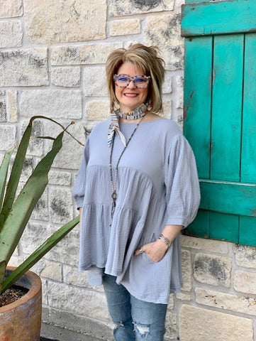 Ladies Light Blue Solid Flowy Tunic Top - L3844