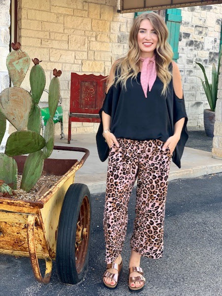 Ladies Ivy Jane Leopard Gaucho Pant with Pink and Black  - 221121
