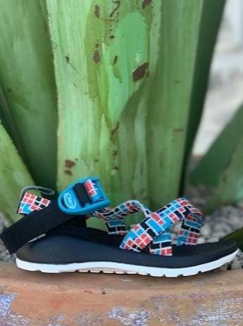 Kid's Chaco Sandal ZX/1 EcoTread Red and Turquoise Pattern - J180260