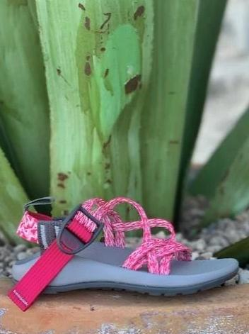 Chaco Kid's Sandal Hot Pink & White double strap Z/1 ECOTREAD - J180014