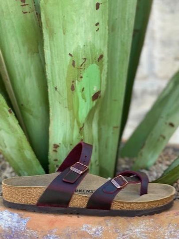 Ladies Mayaria Birkenstock Nubuck maroon leather sandal - 1014266