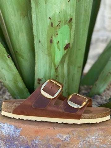 Birkenstock Women's Brown with Gold Buckle Arizona - 101107