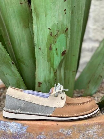 Ariat Women's Castaway Boat Shoe Cruiser Tan Slip On w/ tie - 10031643