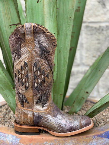 Ariat Women's Western Square Toe Aztec Design Brown Distressed - 10031431