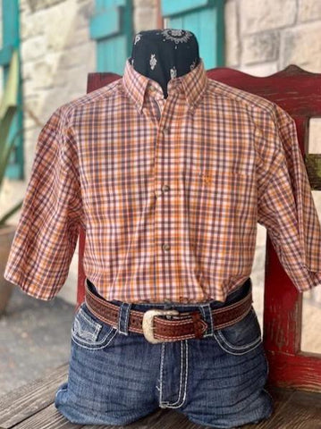 Ariat Men's Short Sleeve Western Plaid Shirt orange and gray - 10030681