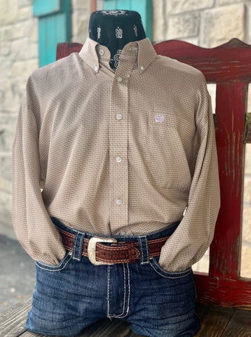 Men's Cinch Western Check Dress Shirt Tan & White - MTW1104990