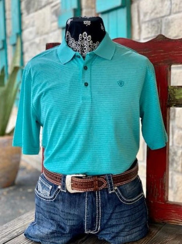 Men's Ariat Solid Short Sleeve Polo Pull over ribbed turquoise - 10031047