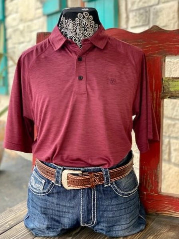 Men's Ariat Solid Short Sleeve Pull over heathered maroon - 10030943