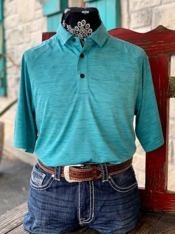 Men's Ariat Solid Short Sleeve Pull over Heathered Turquoise - 10030941
