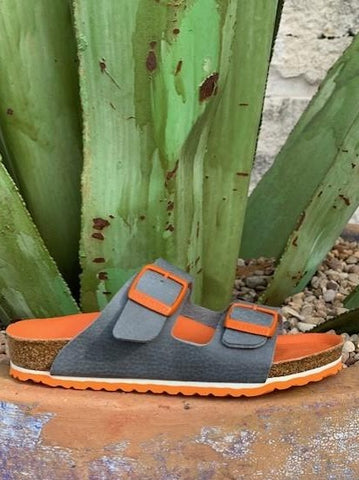 Kid's Birkenstock Arizona Grey & Orange Sandal - 1015644