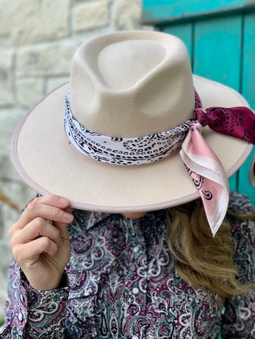 Ladies Boho Natural Wool Cowgirl Hat with Pink scarf - 191641192004