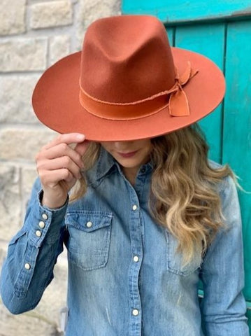 Ladies Boho Ole Jamestown Rust Wool Cowgirl Hat - 81138RST
