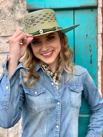 Ladies Charlie 1 Horse Straw Cowgirl Green Palm Beach Hat - CSPMBC2536