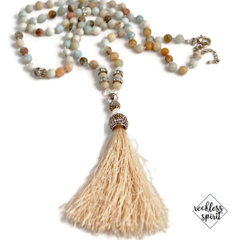 Simply Ivie Amazonite Silk Tassel Necklace