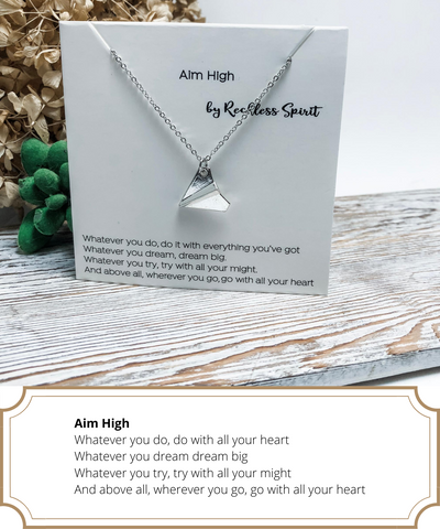 Aim High Paper Airplane Necklace