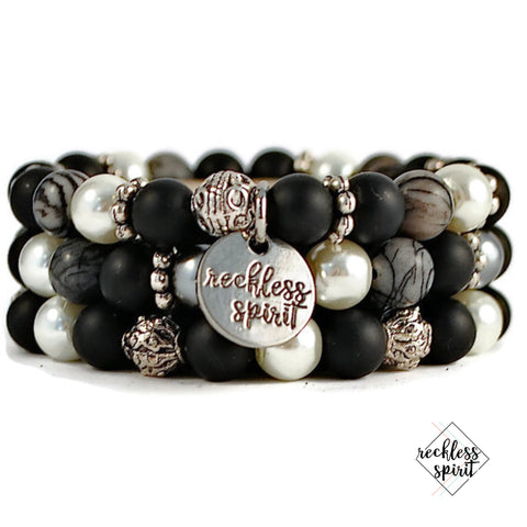 **Leather and Lace Bohemian Bracelet Stack