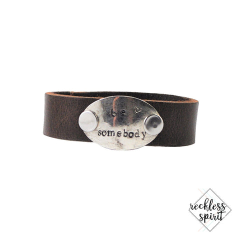 Be Somebody Thin Leather Cuff Bracelet