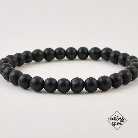 Black Agate Mens Stretch Bracelet