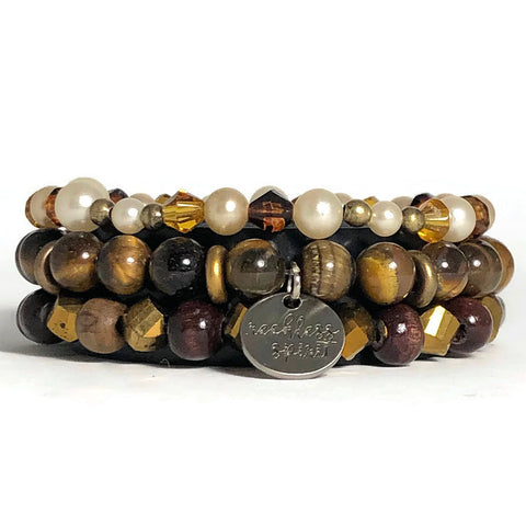 Coffee Bean Bracelet Stack One-of-a-Kind