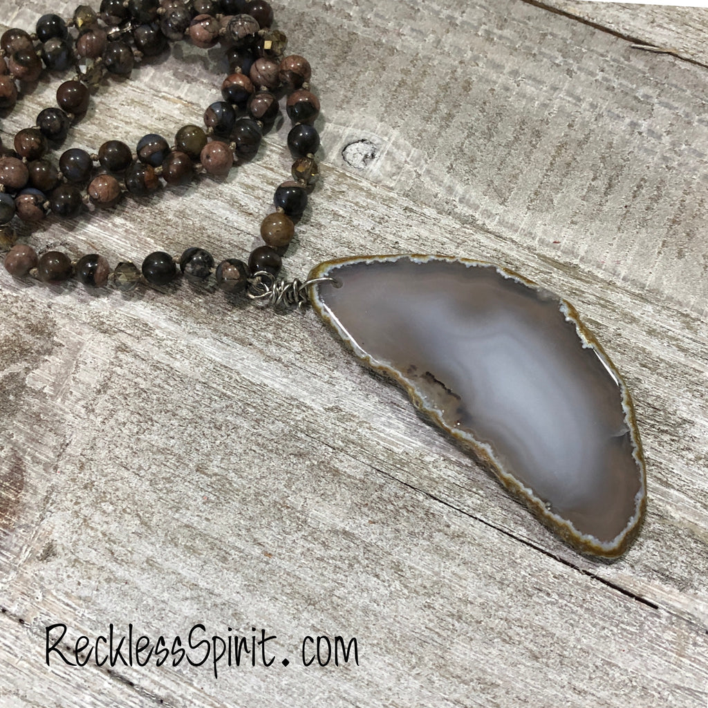 Smoky Ember Agate Slice Pendant Necklace
