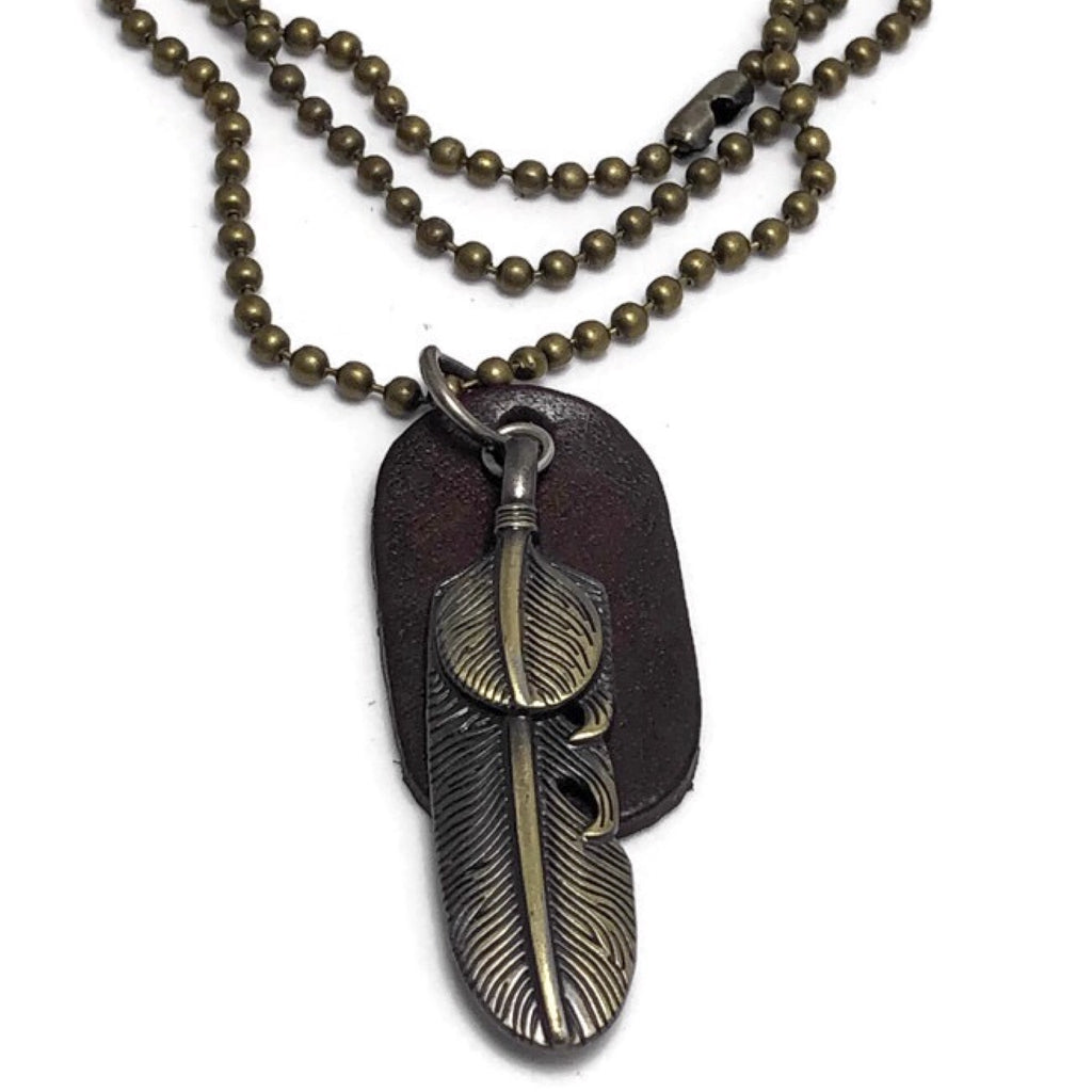 Shawnee Leather Dog Tag Necklace