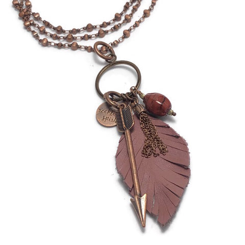 Ginger Leather Fringed Feather Cluster Necklace