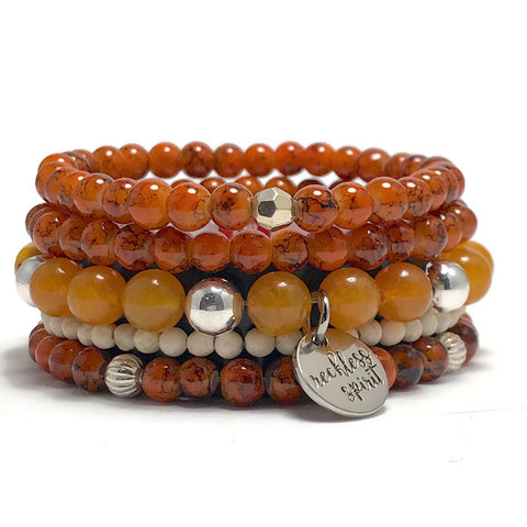 Orange Whip Bracelet Stack One-of-a-Kind