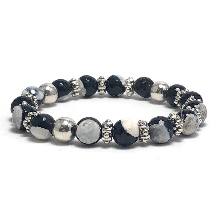 Marbled Black and White Agate Stretch Bracelet