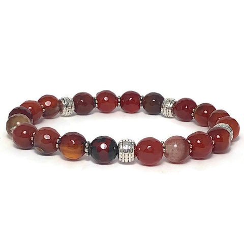Faceted Fire Agate Stretch Bracelet