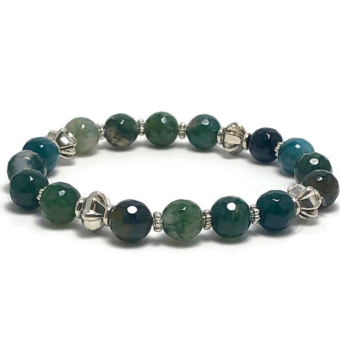 Faceted Green Agate Stretch Bracelet