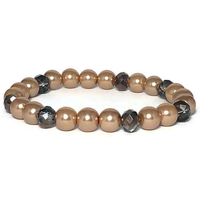 Taupe Freshwater Pearl Glam Stretch Bracelet
