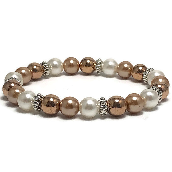 Rose Gold Freshwater Pearl Stretch Bracelet