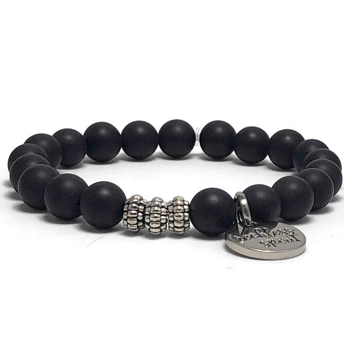 Slate Black Agate Stretch Bracelet