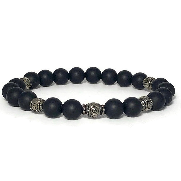 Black Agate Womens Stretch Bracelet
